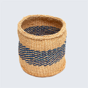 Kenyan Sisal Basket 'Royal Blue Band'