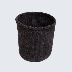 Kenyan Sisal Basket 'Small Block Charcoal'