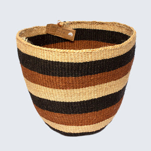 Kenyan Traditional Large Sisal Basket 'Martha Thick Bands'