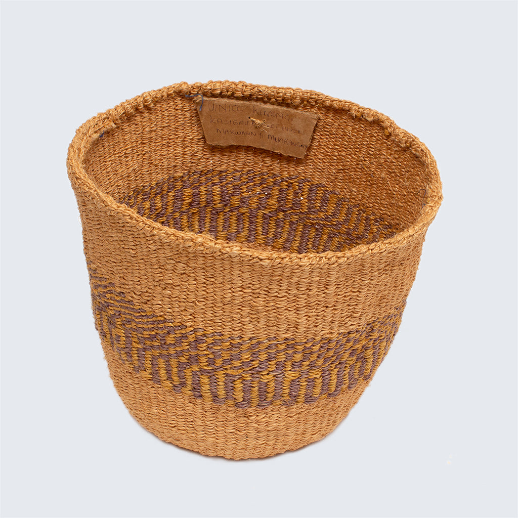Kenyan Sisal Basket 'Uinice Purple Yellow'