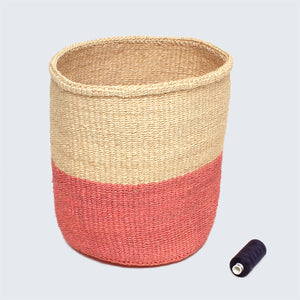 Kenyan Sisal Basket 'Blush Pink and Natural' Set of Three