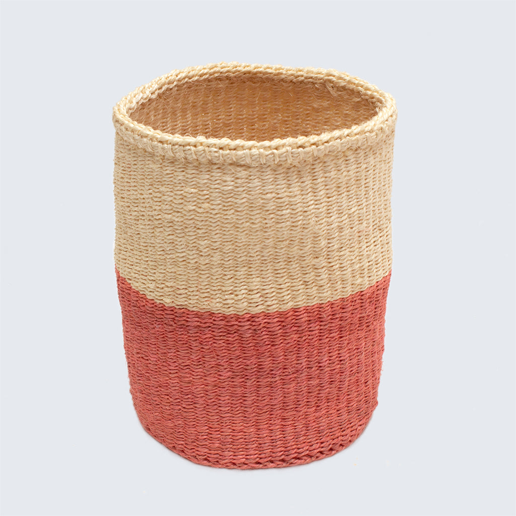 Kenyan Small Sisal Basket 'Pink and Natural'