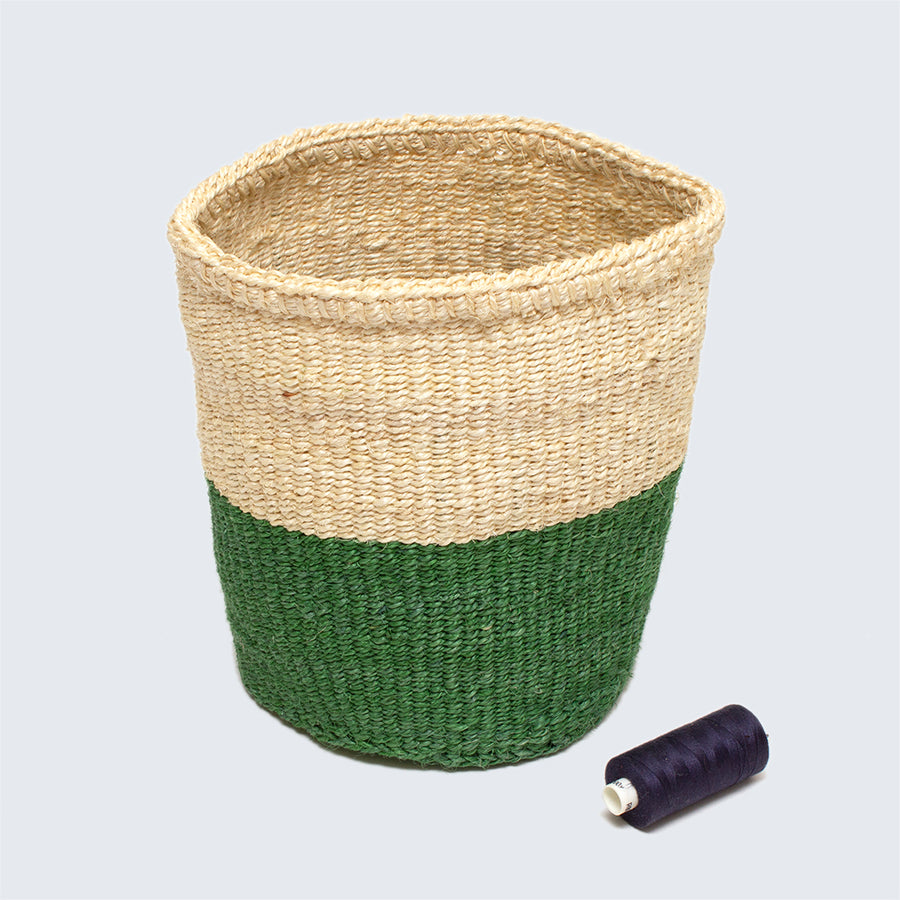 Kenyan Sisal Basket 'Green and Natural' Set of Three
