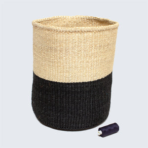 Kenyan Large Sisal Basket 'Black and Natural'