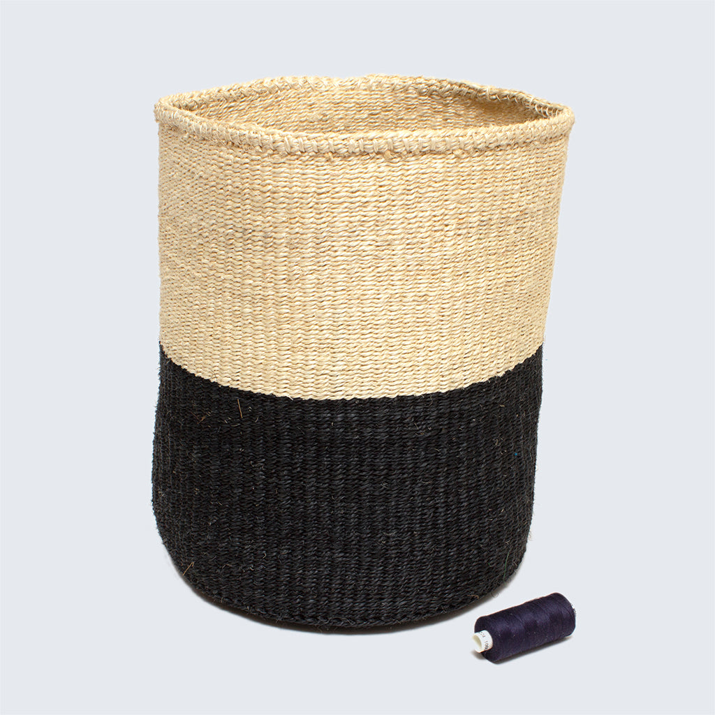 Kenyan Large Sisal Basket 'Charcoal and Natural'