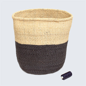 Kenyan Large Sisal Basket 'Grey and Natural'