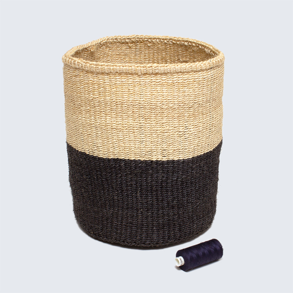 Kenyan Medium Sisal Basket 'Charcoal and Natural'