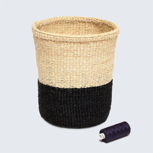 Kenyan Small Sisal Basket Grey and Natural'