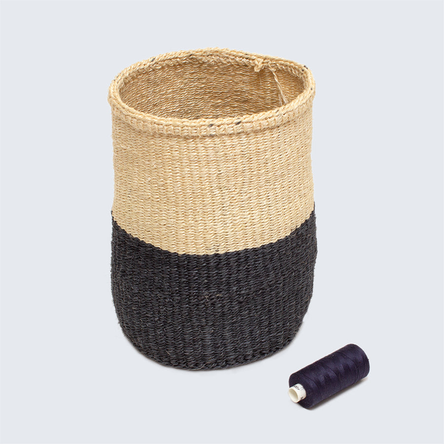 Kenyan Sisal Basket 'Grey and Natural' Set of Three
