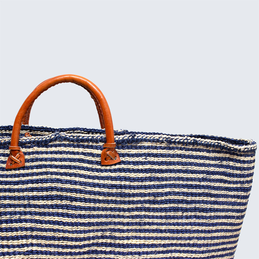 Kenyan Sisal Extra Large Basket with Handles 'Blue'