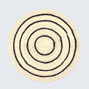 Handwoven Sisal Circle Table mat/Placemat 'White with Four Black Stripes'