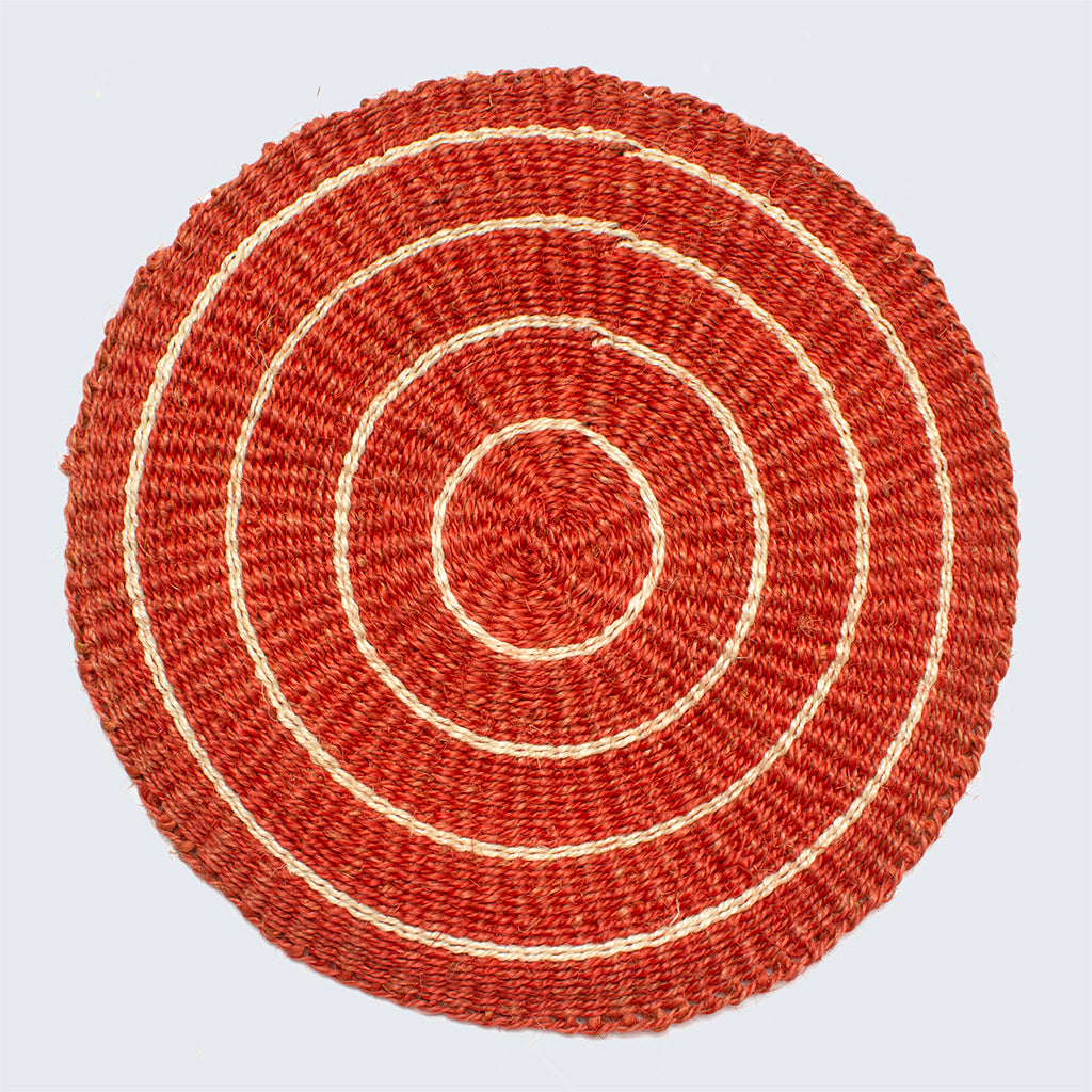 Handwoven Sisal Circle Table mat/Placemat 'Terracotta and Natural'