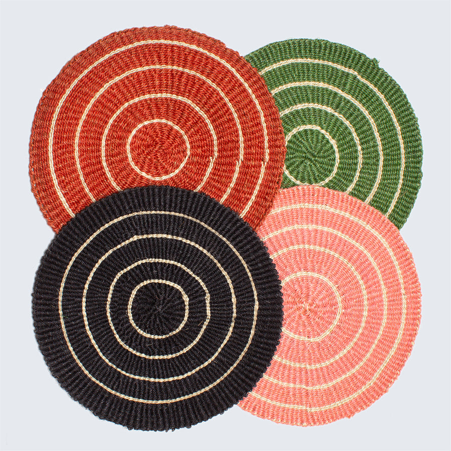 Handwoven Sisal Circle Table mat/Placemat 'Green and Natural'