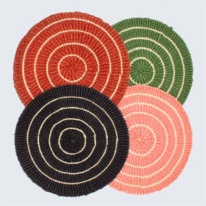 Handwoven Sisal Circle Table mat/Placemat 'Charcoal and Natural'