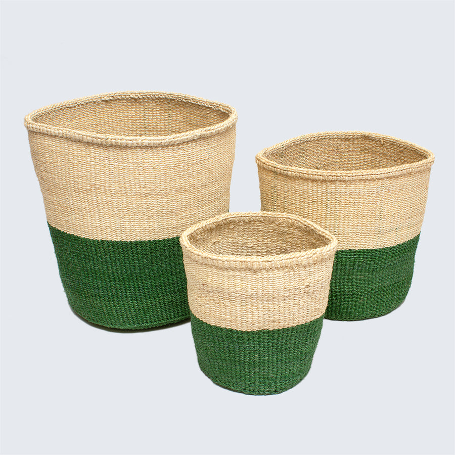 Kenyan Small Sisal Basket 'Green and Natural'