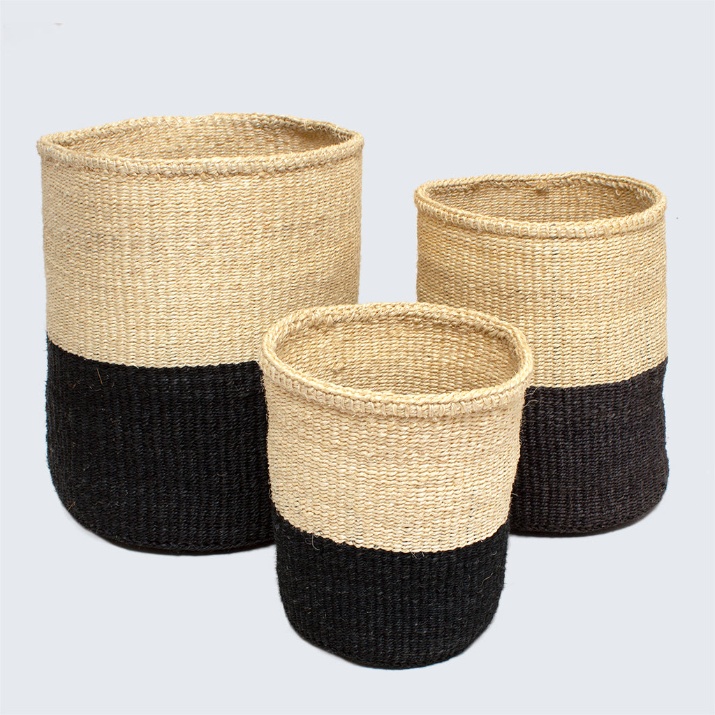Kenyan Sisal Basket 'Black and Natural' Set of Three
