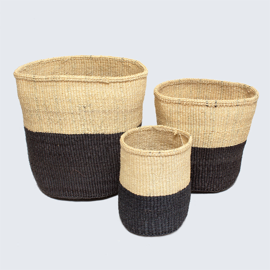 Kenyan Small Sisal Basket 'Charcoal and Natural'