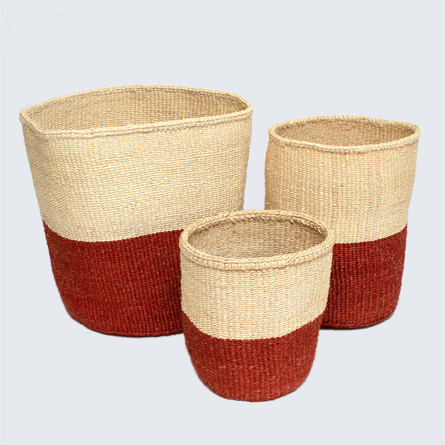 Kenyan Small Sisal Basket 'Rust and Natural'