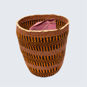 Kenyan Sisal Traditional Basket 'Jenta Tiger Stripes' No.121