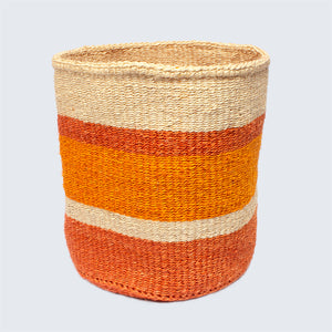 Kenyan Sisal Large Basket 'Orange Stripes'
