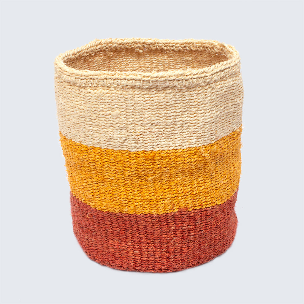 Kenyan Sisal Medium Basket 'Orange Stripes'