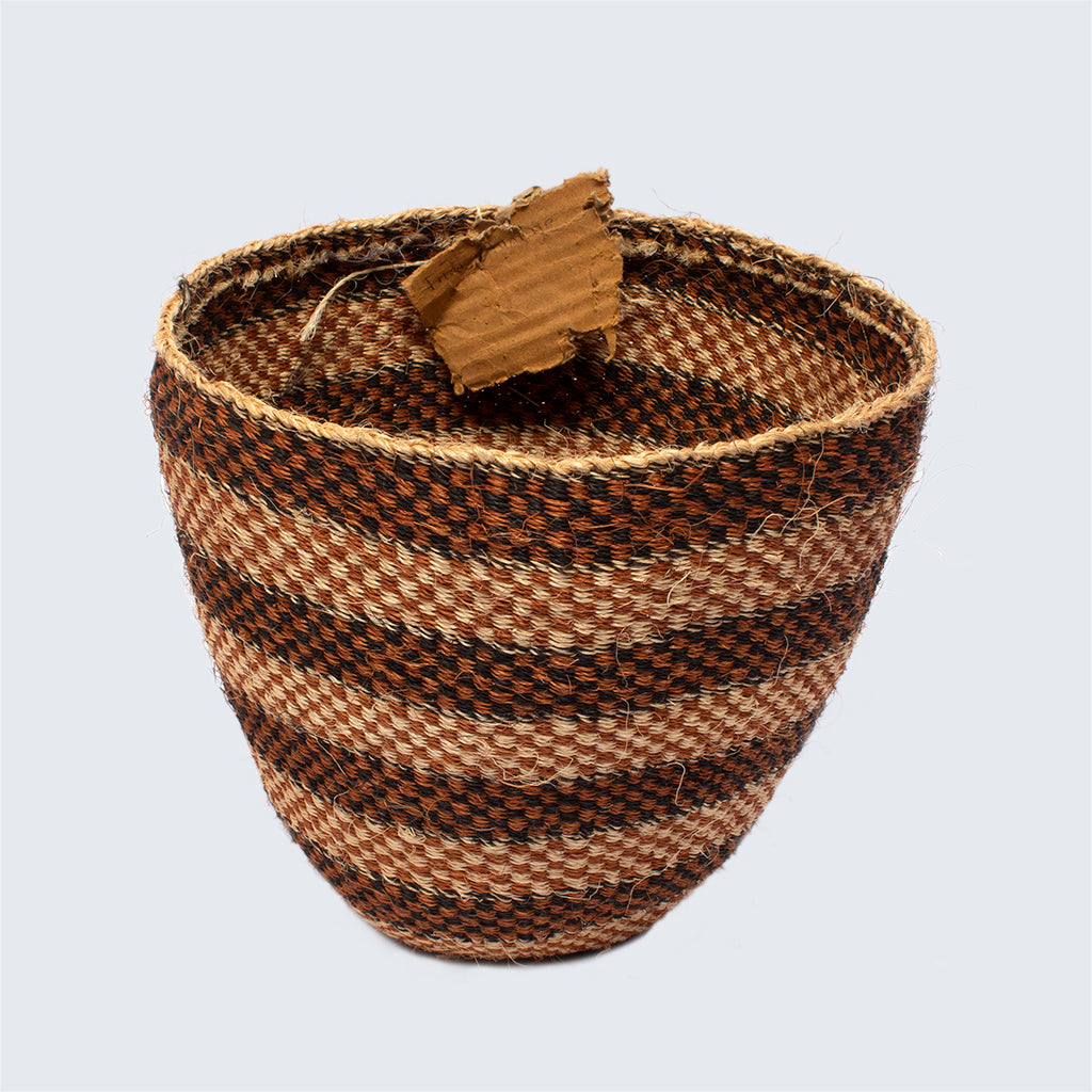 Kenyan Traditional Sisal Basket 'White and Black Bands'