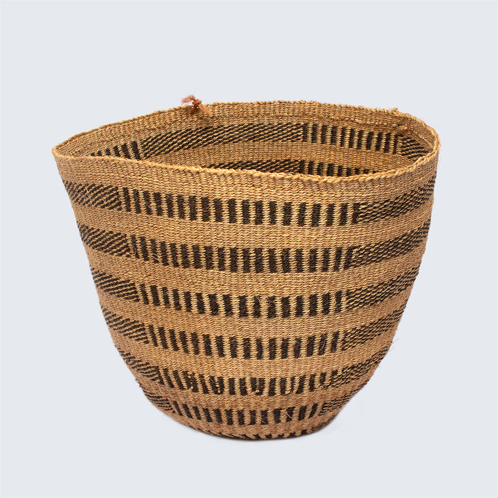 Kenyan Traditional Sisal Basket 'Vertical and Horizontal Stripes'