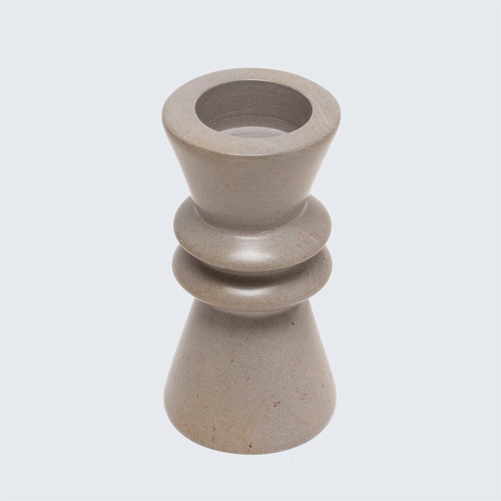 Kenyan Soapstone Tealight Holder 'Grey'
