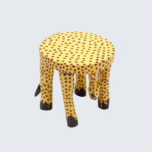 Wooden Hand Carved Cheetah Stool/Pot Stand 'Small'