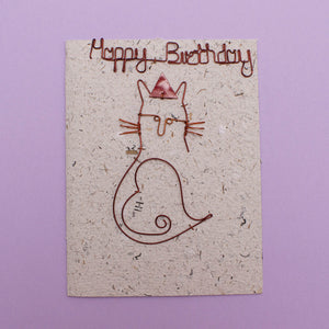 KICK Recycled Wire Card 'Happy Birthday Cat'
