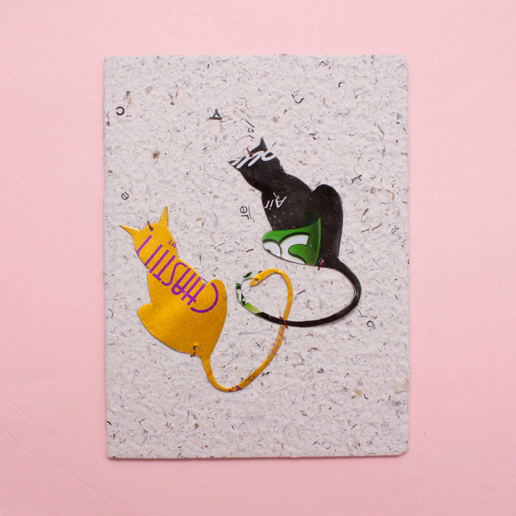 KICK Recycled Wire Card 'Love Cats'