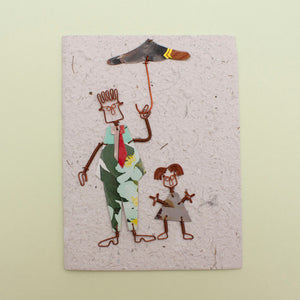 KICK Recycled Wire Card 'Under Dad's Umbrella'