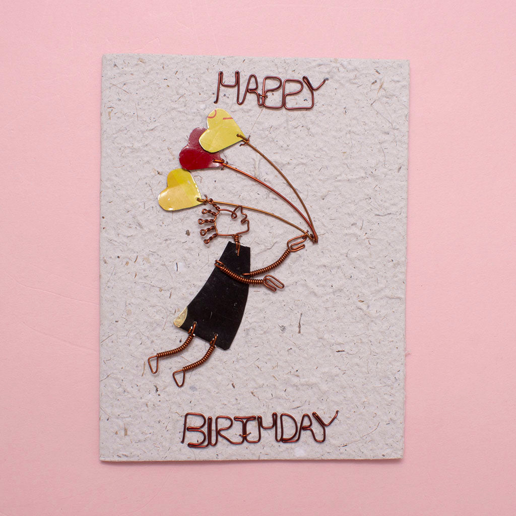 KICK Recycled Wire Card 'Happy Birthday Whisked Away'