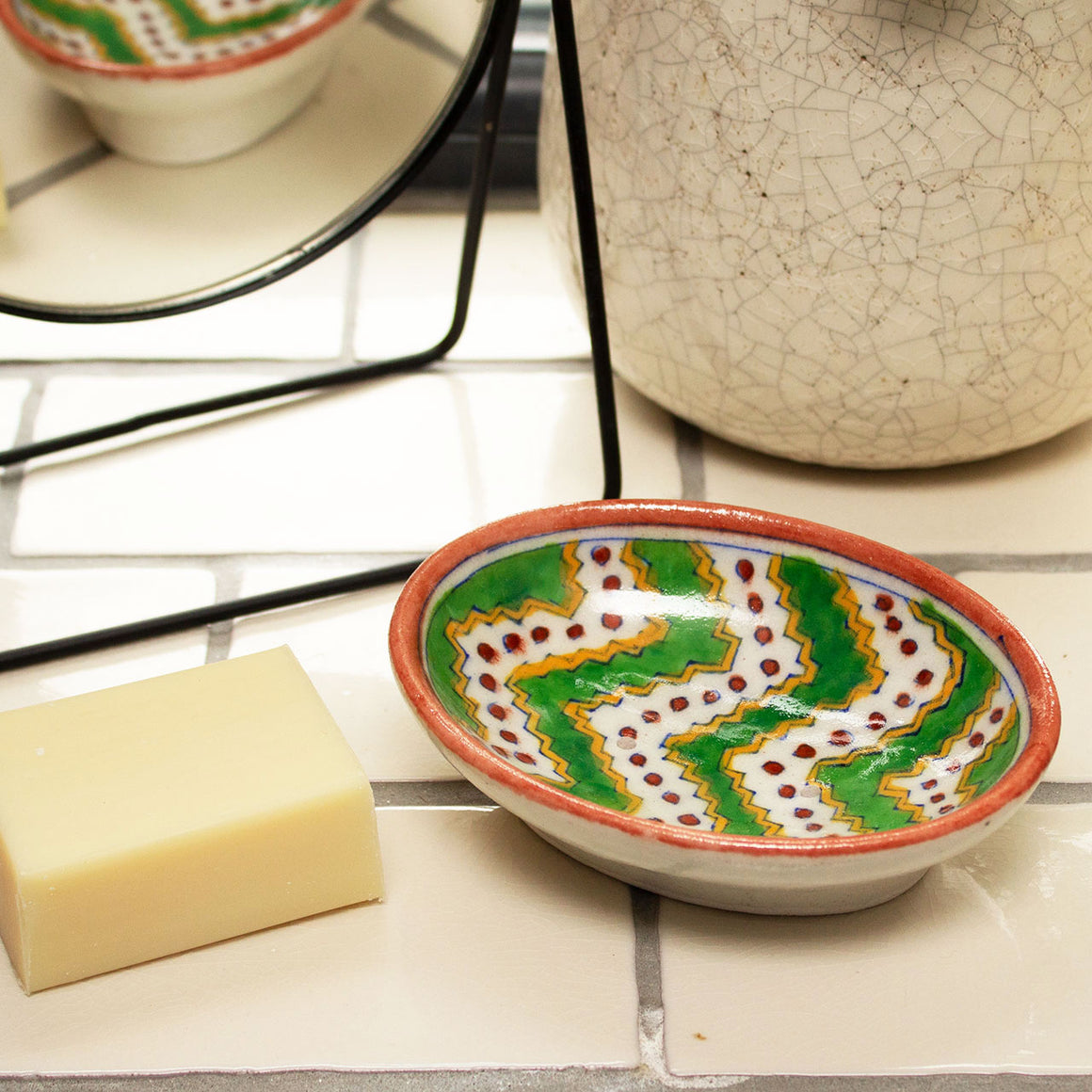 Jaipur Hand Painted Indian Soap Dish 'Green & Red Kilim'