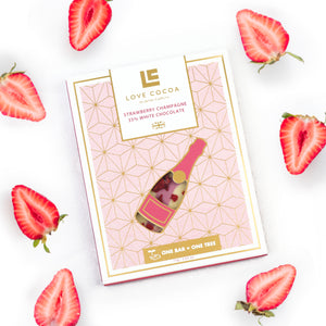 Love Cocoa 'Strawberry Champagne 35% White Chocolate Bar'
