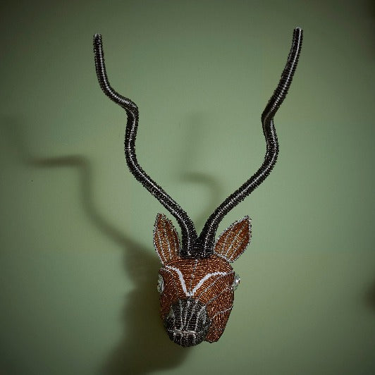Zimbabwean Medium Beaded Wall Head Decoration 'Antelope'