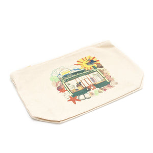 ethical fairtrade cotton makeup bag pouch with margate, england illustration