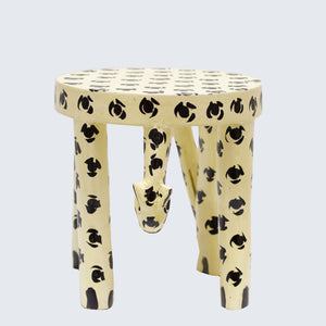 Wooden Hand Carved Leopard Stool/Pot Stand 'Medium'