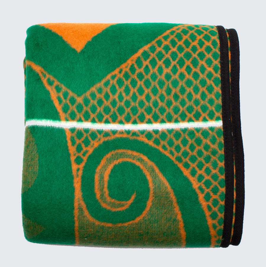 Khotso Tradtional Basotho Blanket For Kids 'Mini Green & Orange Cards'
