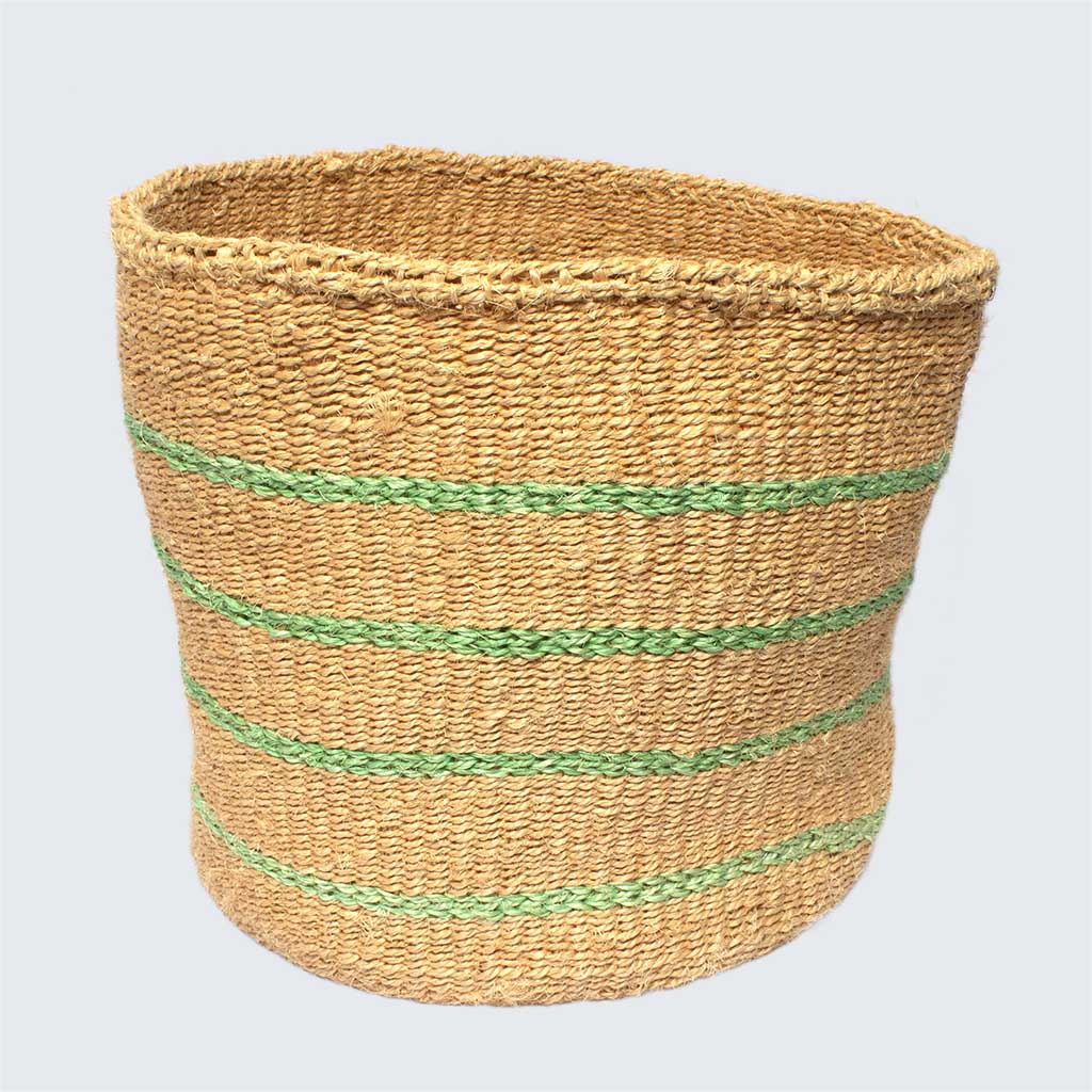 Kenyan Sisal Basket 'Mint Stripes' No.62