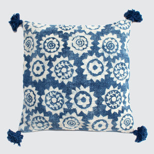 Indian Indigo Block Printed 65m x 65cm Cushion Covers 'Monkey Puzzle'