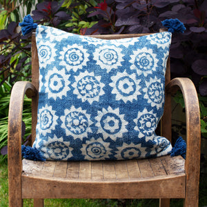 Indian Indigo Block Printed 45cm x 45cm Cushion Covers 'Monkey Puzzle'