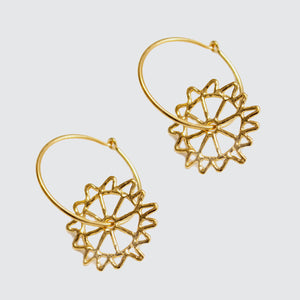 Monkey Puzzle Hoop Earrings Brass