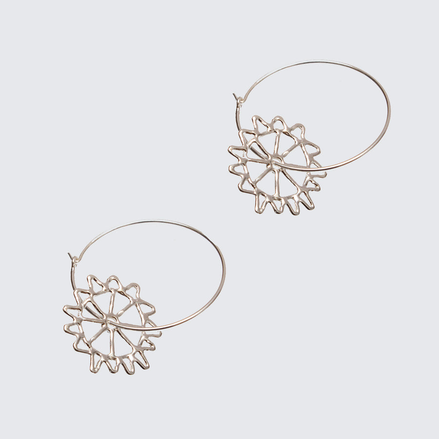 Monkey Puzzle Hoop Earrings Silver