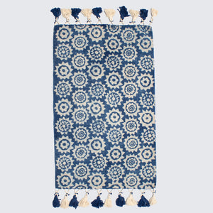 Indian Indigo Block Printed Monkey Puzzle Rugs '2 x 3ft'