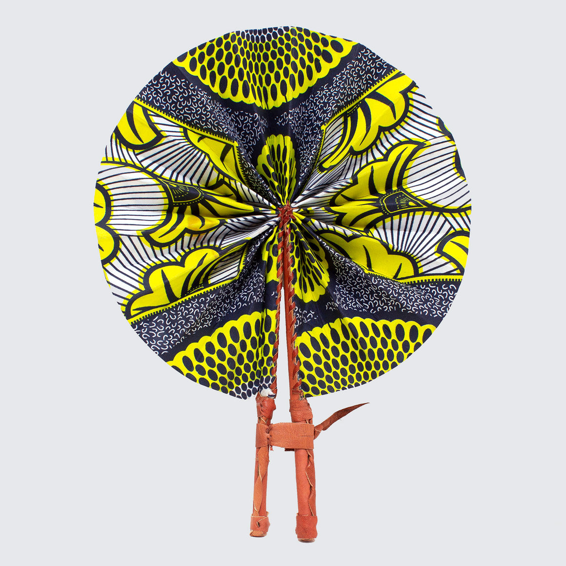 Ghanaian Wax Cotton & Leather Fan 'Neon Yellow Flower'