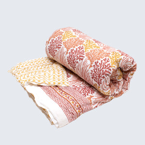 Indian Kantha Queen/Large Double Sized Quilt 'Coral Reef'