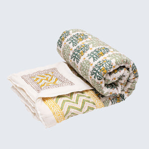 Indian Kantha Queen/Large Double Sized Quilt 'Fantasy Forest'