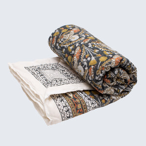 Indian Kantha Single Sized Quilt 'Garden Tiger Moth'