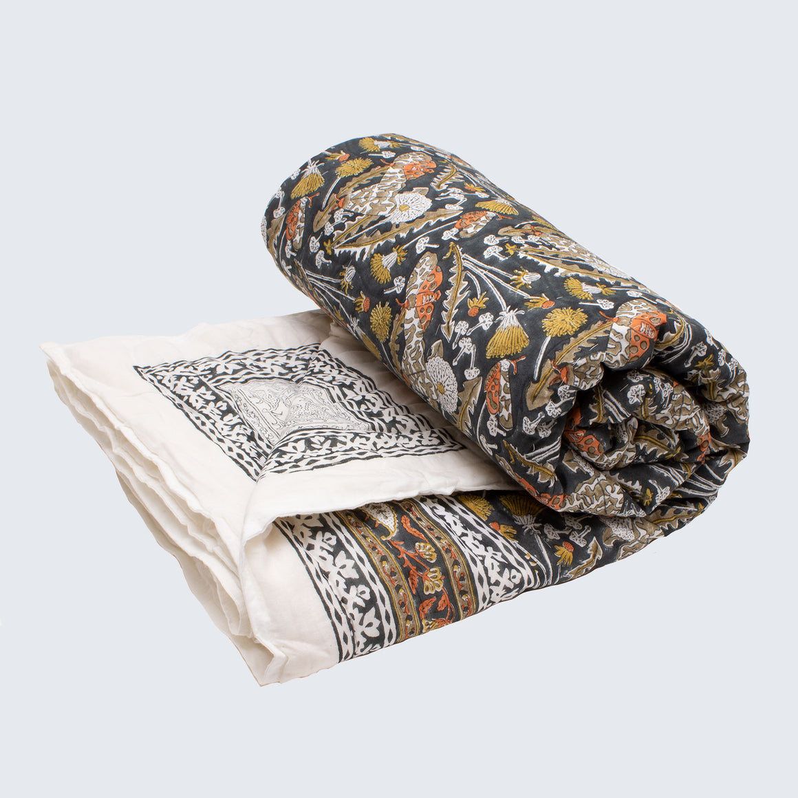 Indian Kantha Queen/Large Double Sized Quilt 'Garden Tiger Moth'
